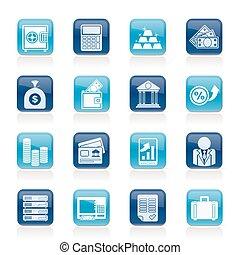 banco, e, finanças, ícones