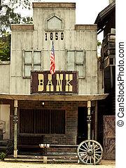banco, em, oeste selvagem, estilo