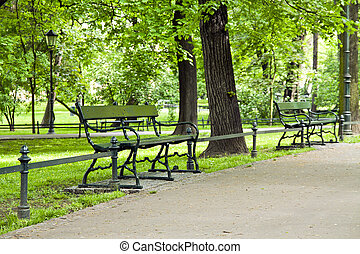 banco, em, parque verde