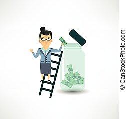 banco, empleado, a, retener, dinero, en, el, tarro de cristal
