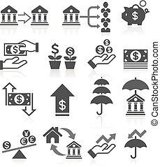 banco empresarial, ícones conceito, set.