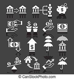 banco empresarial, ícones