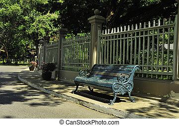 banco, en el parque, de, el, palacio, tailandia