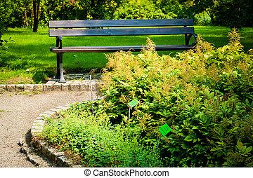 banco, en el parque, en, ocaso