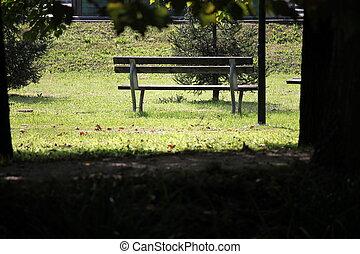banco, en el parque