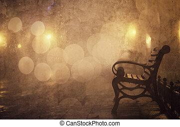 banco, en, noche, callejón, con, luces, en, odessa, ukraine., foto, en, retro, style.