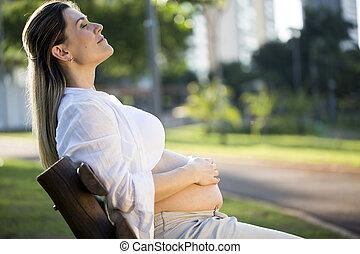 banco, grávida, parque, pôr do sol, sentando