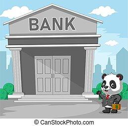banco, gris, dinero, frente, panda, serie, bolsa, tenencia
