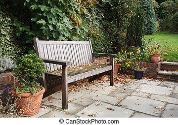 banco, jardín, otoño