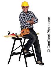 banco lavoro, prossimo, rilassato, carpentiere