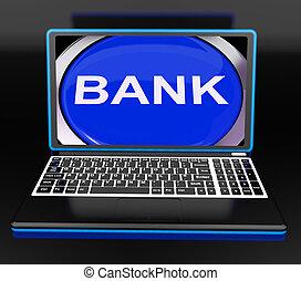 banco, ligado, laptop, mostra, teia, www, ou, negócio eletrônico bancário