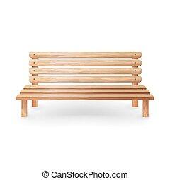 banco madeira, realístico, vetorial, illustration., liso, madeira, clássicas, mobília, branco, fundo