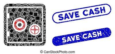 banco, mosaico, efectivo, excepto, sellos, angustia, seguro...