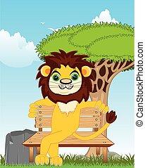 banco, naturaleza, sentado, caricatura, animal, león