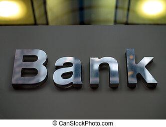banco, negócio, corporação, escritório, sinal