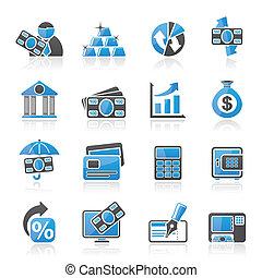 banco, negócio, finanças, ícones