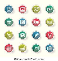 banco, negócio, finanças, e, ícones escritório, sobre, experiência colorida