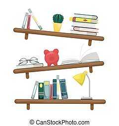 banco, parede, prateleiras, glasses., livros, lâmpada,...