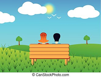 banco, pareja, sentado
