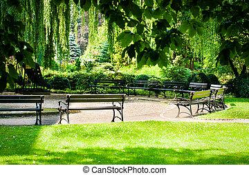 banco, parque, pôr do sol