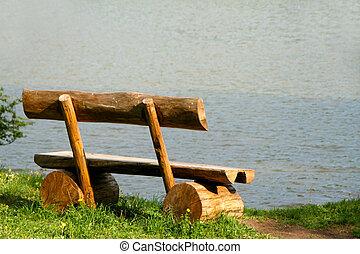 banco, perto, um, lago