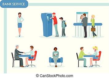 banco, pessoal, e, clientes, em, banco, escritório., finanças, gerência, conceito, apartamento, design., negócio, e, fila, local trabalho, e, discuta, atm, e, trabalhando, gerente, coloridos, vetorial, ilustração, em, apartamento, caricatura, style.