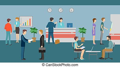 banco, pessoal, e, clientes, em, escritório, interior., vetorial, finanças, gerência, conceito, fundo, apartamento, desenho, estilo