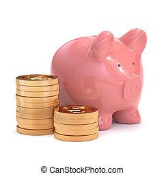 banco piggy cor-de-rosa, com, dourado, moedas., dinheiro, e, negócio, concept.