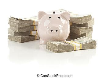 banco piggy cor-de-rosa, com, pilhas, de, dinheiro