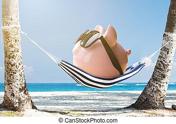 banco piggy cor-de-rosa, relaxante, ligado, rede