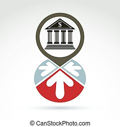 banco, predios, com, setas, vetorial, ícone, conceitual, símbolo, negócio, e, finanças, operação bancária, theme.