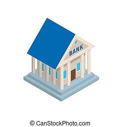 banco, predios, em, antiga, estilo, isometric, ícone