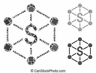 banco, raggy, partes, rede, mosaico, ícone