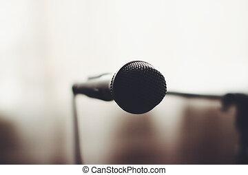 banco testemunhas microfone, vocal