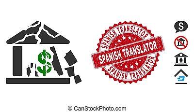 banco, translator, espanhol, quebrada, ícone, selo, angústia