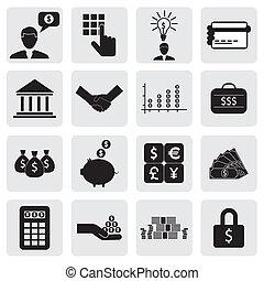 banco, y, finanzas, icons(signs), relacionado, a, dinero,...