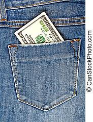 banconota, dollari, jeans, uno, tasca, americano, cento