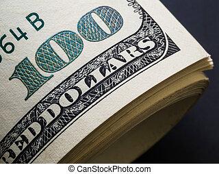 banconota, dollari, uno, ingrandimento, angolo, cento