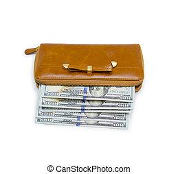 banconota, dollaro, fondo, isolato, borsellino, cento, bianco