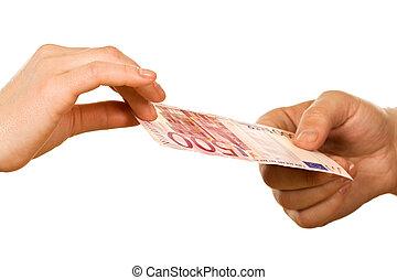banconota, mani