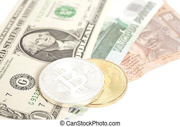 banconote, dollaro, rublo, bitcoins, fine, rupia, isolato, dorato, argento, stati uniti., bianco
