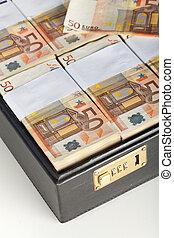 banconote, euro, -, dettaglio, valigia