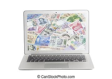 banconote, internazionale, laptop, valute, schermo
