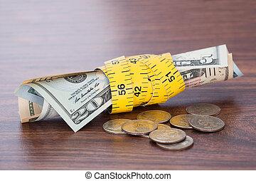 banconote, involvere, con, misura, nastro, vicino, monete, su, tavola
