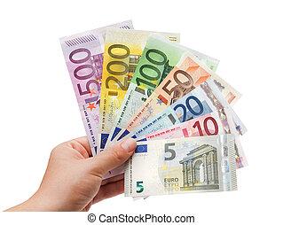 banconote, mano, white%ufffc, euro