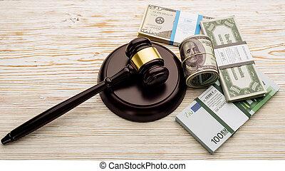 banconote, pacchi, euro, legno, vista, martelletto, giudice, cima tavola, dollari, bianco