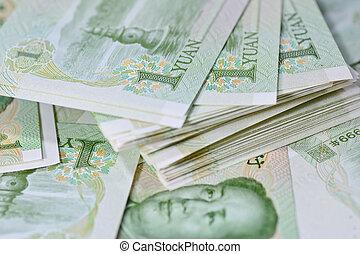 banconote, soldi, yuan, affari, conce, cinese, (renminbi)