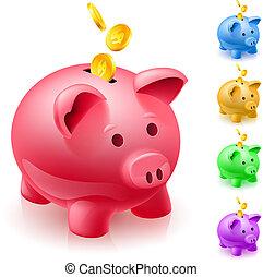 bancos, cinco, piggy, coloridos