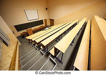 bancos, de madera, dentro, escalera, escritorios, hall;, conferencia, universidad