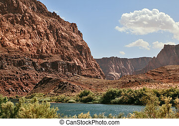 bancos, escarpado, río, magnífico, colorado